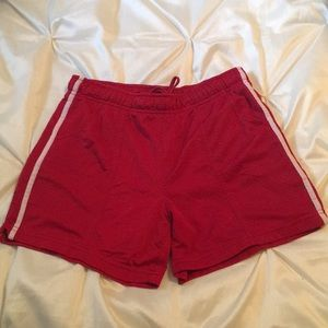 Red with white stripe athletic shorts size small